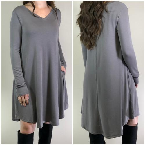 Long Sleeve Dress: Grey