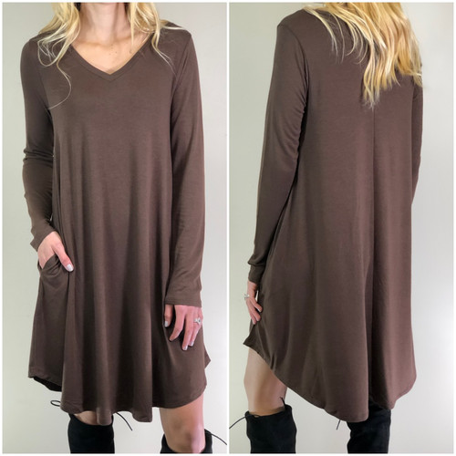 Long Sleeve Dress: Brown