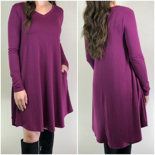 Long Sleeve Dress: Plum