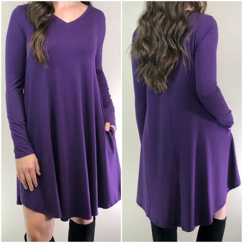 Plus Size Long Sleeve Dress: Dark Purple