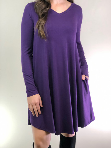 Plus Size Long Sleeve Dress: Dark Purple
