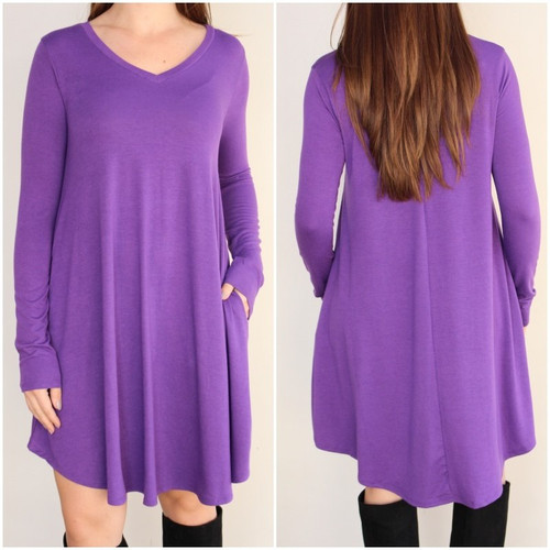 Plus Size Long Sleeve Dress: Purple
