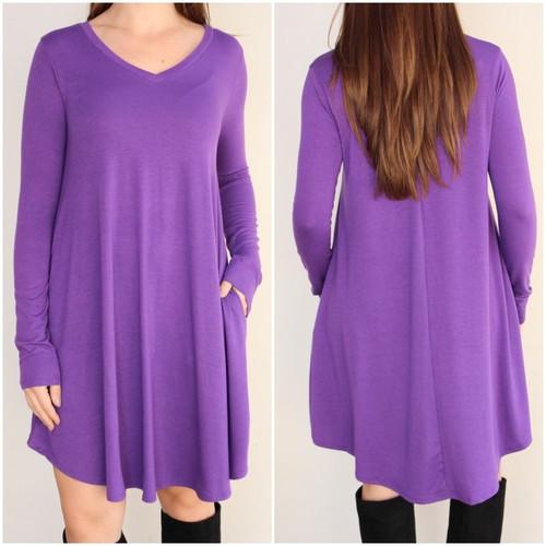 Plus Size Long Sleeve Dress: Purple