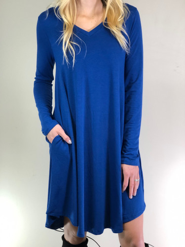 Plus Size Long Sleeve Dress: Sapphire