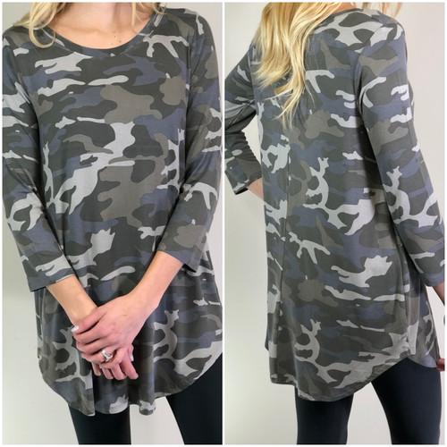 3/4 Sleeve Round Neck- Camouflage