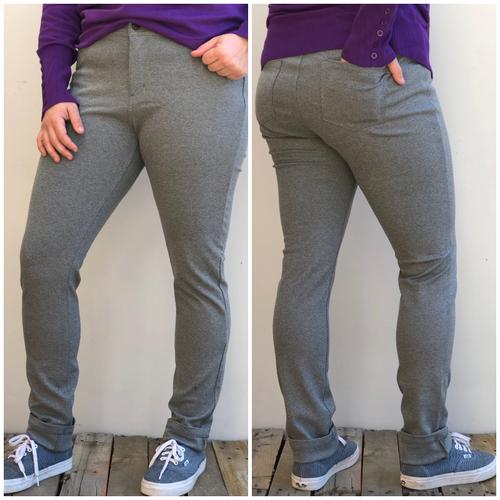Plus Size 5 Pocket Pants- Grey