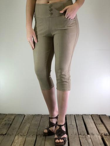 Capri Stretchy Jeggings- Khaki