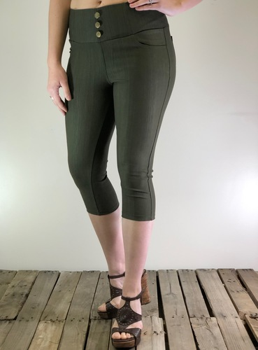 Capri Stretchy Jeggings- Olive