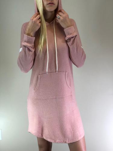 Striped Pullover Hoodie Dress- Blush