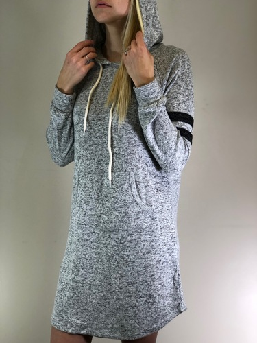 Striped Pullover Hoodie Dress- Heather Grey