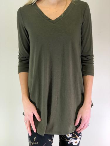 Plus Size 3/4 Sleeve V-Neck- Olive