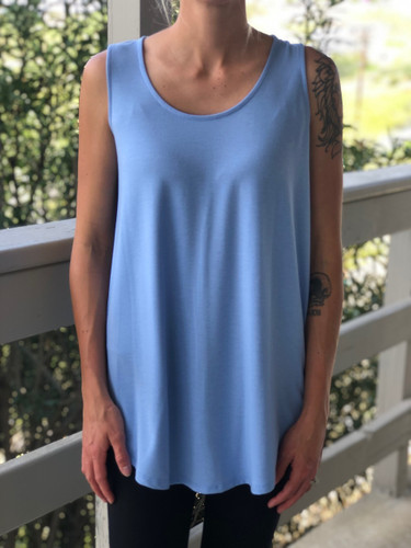 Plus Size Tank Top- Spring Blue