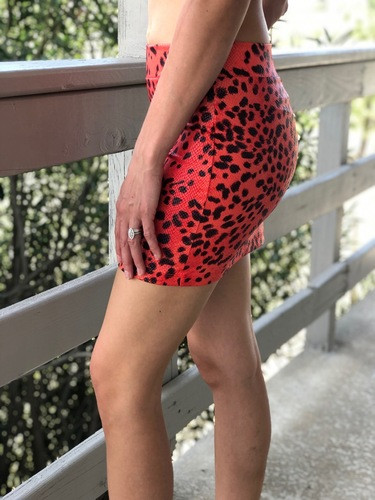 Leopard Mini Skirt- Red