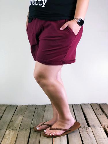 Plus Size Cotton Shorts- Burgundy