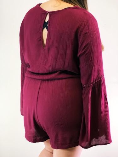 Plus Size Long Sleeve Romper- Burgundy