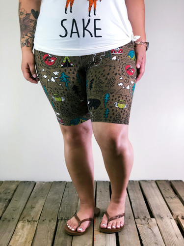 Plus Size Bike Shorts- Happy Camper