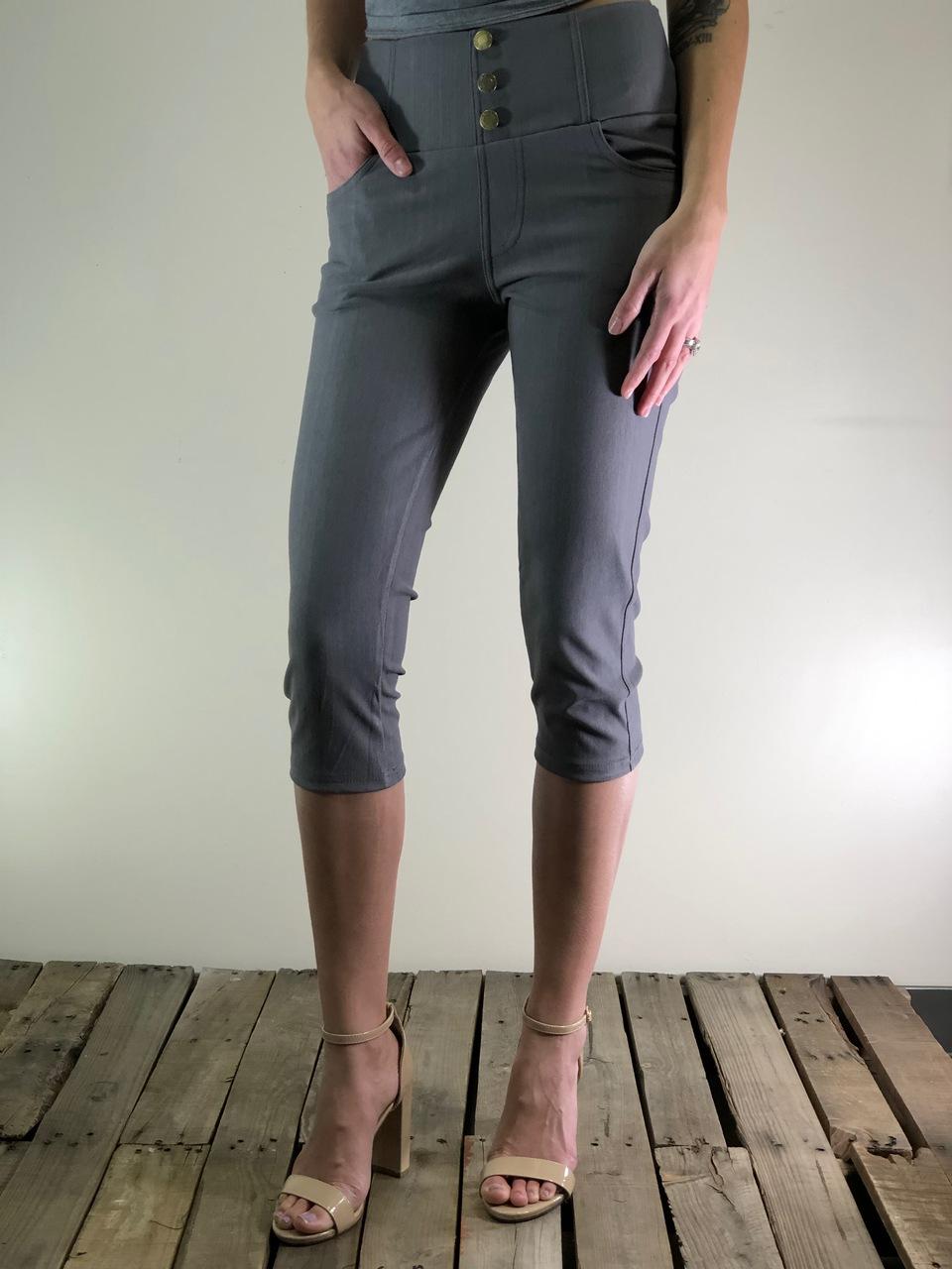 f177a425bca97 Capri Stretchy Jeggings- Grey - Legging Army