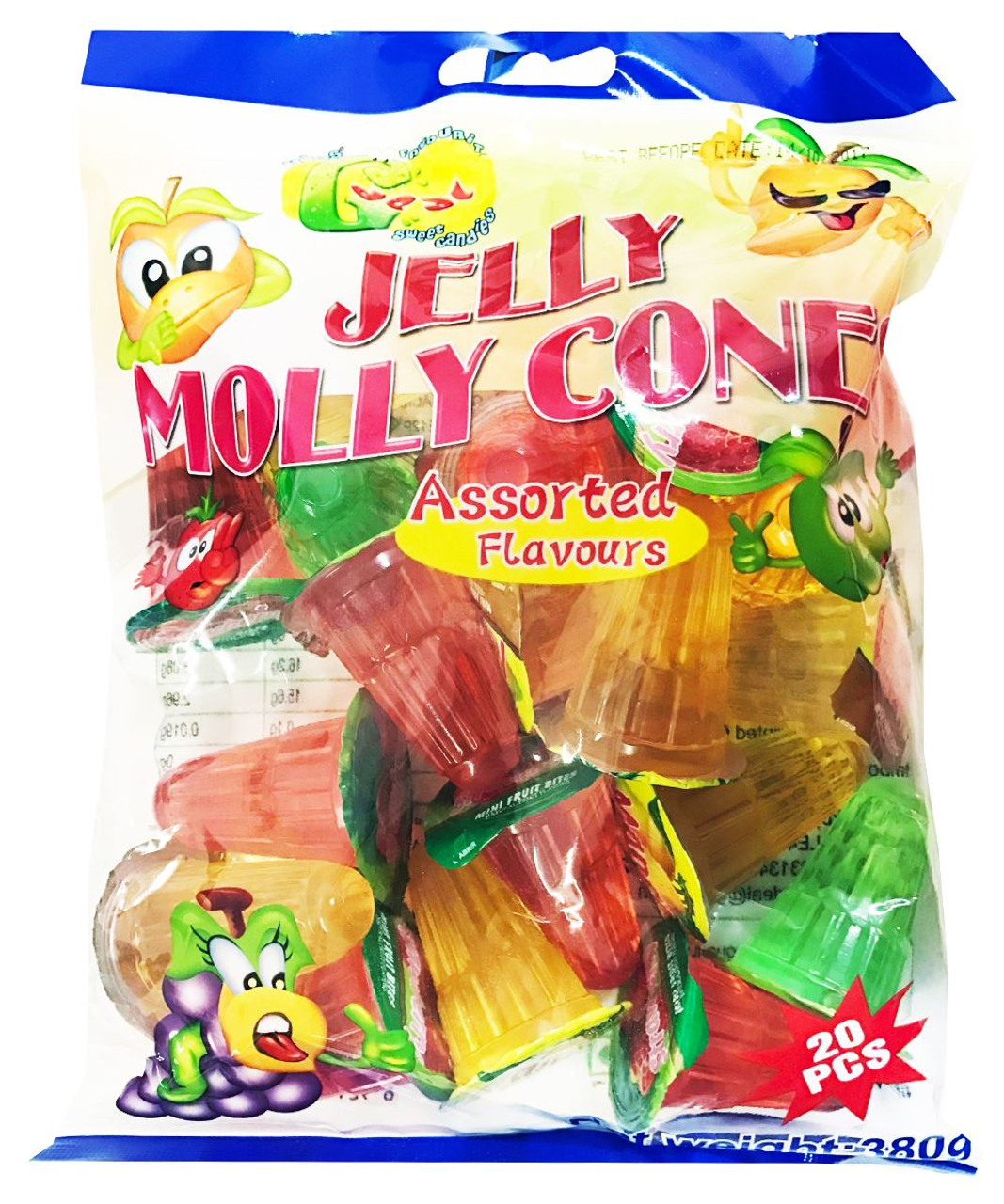 Jelly Molly - Jelly Cones (Assorted Flavours) - 380g (20pcs)