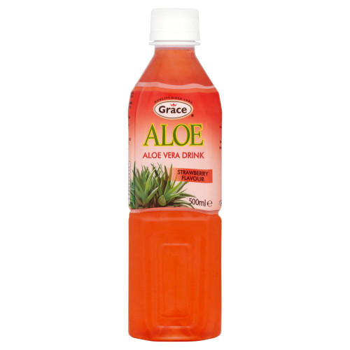 Grace Aloe Vera & Strawberry Juice Drink - 500ml - Single Bottle (500ml x 1 Bottle)