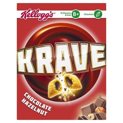 Kellogg's Krave Cereal Chocolate Hazelnut - 375g - Single Pack (375g x 1 Box)