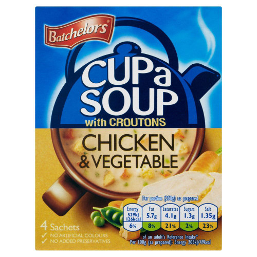 Batchelors Cup A Soup Chicken & Vegetable - 110g - Pack of 6 (110g x 6)