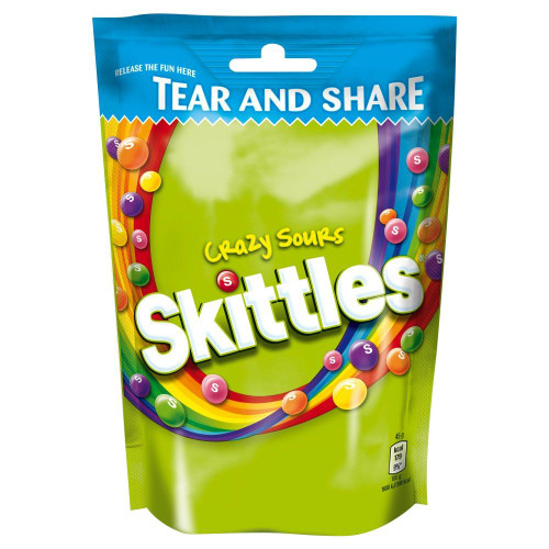 Skittles Crazy Sour Pouch - 174g - Pack of 4 (174g x 4 Pouches)