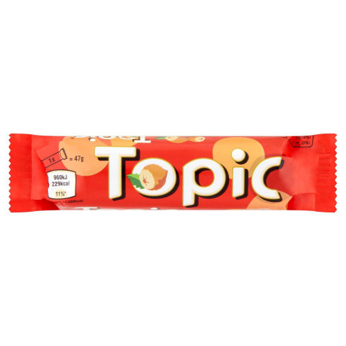 Topic Chocolate Bar - 47g - Pack of 12 (47g x 12 Bars)
