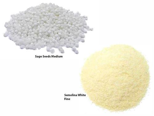 Jalpur Millers Semolina Combo Pack - Semolina Fine White 500g - Sago Seeds Medium 500g (2 Pack)