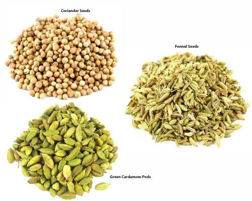 Jalpur Millers Spice Combo Pack - Fennel Seeds 100g - Green Cardamom Pods 100g - Coriander Seeds 100g (3 Pack)
