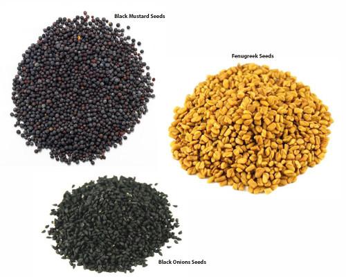 Jalpur Millers Spice Combo Pack - Black Onion Seeds 100g - Fengureek Seeds 100g - Black Mustard Seeds - 500g (3 Pack)