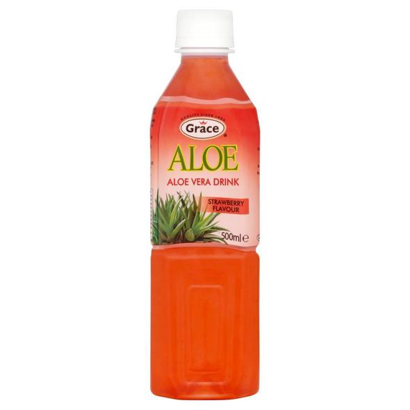 Grace Aloe Vera & Strawberry Juice Drink - 500ml - Single Bottle (500ml x 1 Bottle)