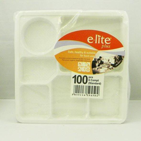 Plastic Plates 6 Compartment - 100 Pieces