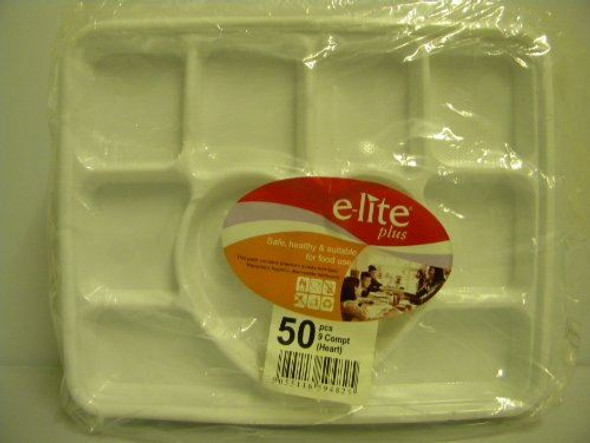 Strong White Disposable Heart Shape Plate 9 Compartment - 50 Pieces