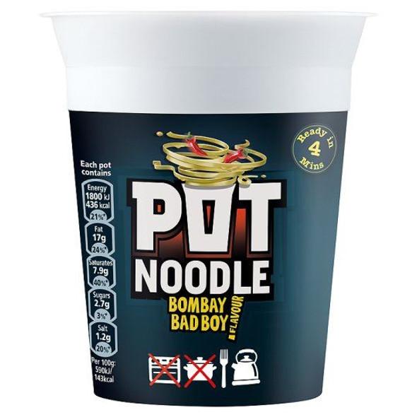 Pot Noodle Bombay Bad Boy Flavour - 90g - Pack of 4 (90g x 4)