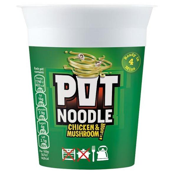 Pot Noodle Chicken & Mushroom Flavour - 90g - Pack of 4 (90g x 4)