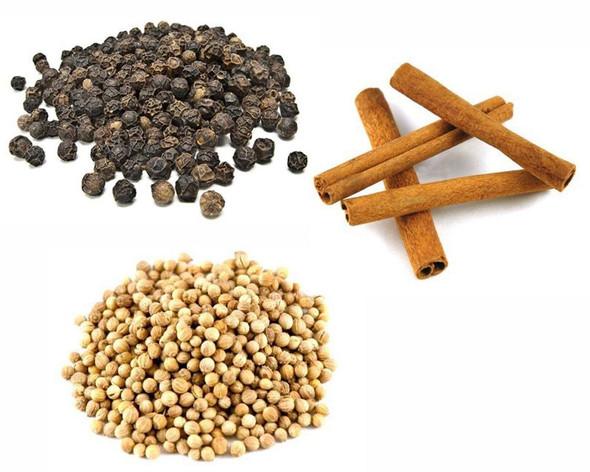 Jalpur Millers Spice Combo Pack - Black Peppercorns 100g - Coriander Seeds 100g - Cinnamon Quills 100g (3 Pack)