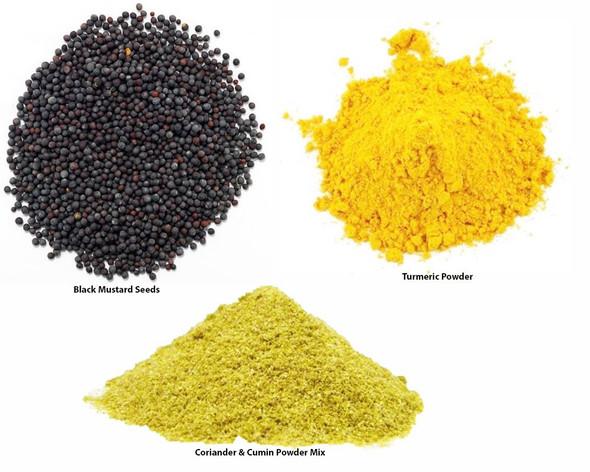 Jalpur Millers Spice Combo Pack - Coriander & Cumin Powder 500g - Turmeric Powder 500g - Black Mustard Seeds 500g (3 Pack)