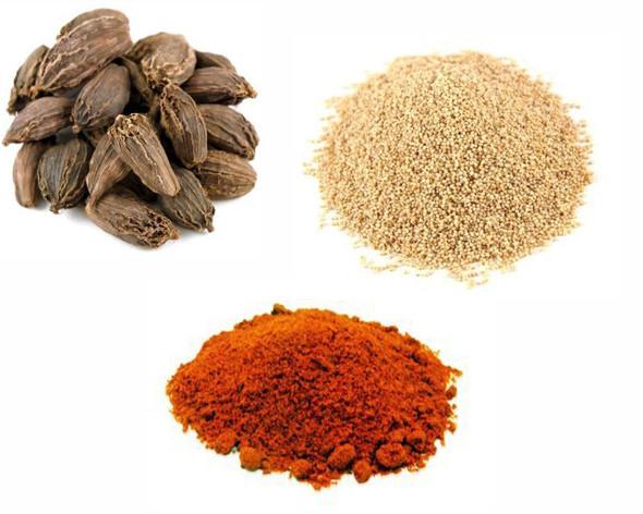 Jalpur Millers Spice Combo Pack - White Poppy Seeds 100g - Black Cardamom Pods 50g - Kashmiri Chilli Powder 100g (3 Pack)