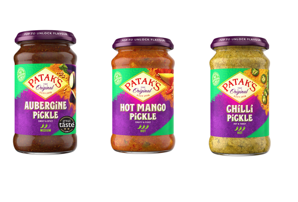 Pataks Pickle Combo Pack - Pataks Brinjal Pickle 312g - Pataks Hot Mango Pickle 283g - Pataks Chilli Pickle 283g (3 Pack)