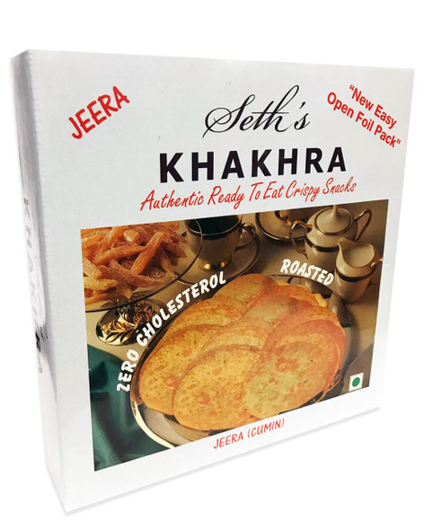 Seth's - Khakhara Authentic Crispy Snack - Jeera Flavour (Cumin Flavour) - 200g (Pack of 2)