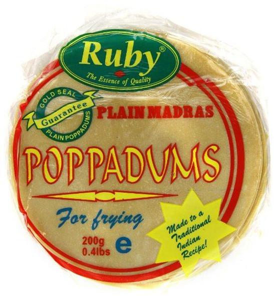 Ruby - Plain Madras Poppadums Restuarant Style - 200g (Pack of 2)