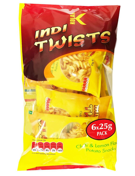 Kolak - Indi Twists 6 x Chilli & Lemon Potato Snacks - 25g (Pack of 6)