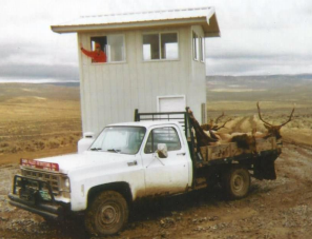 Shooting house with trophies.