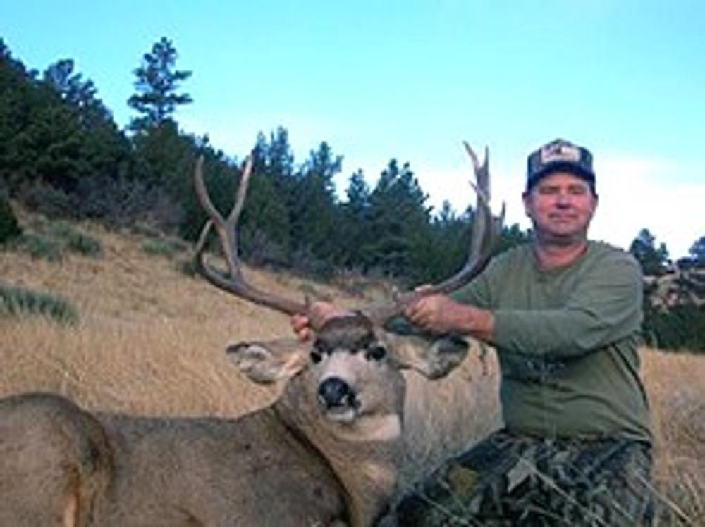Guided mule deer hunt at tree line.