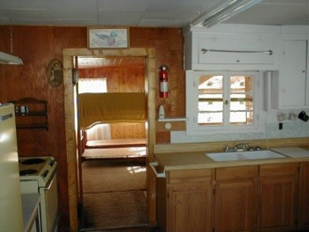 Inside view of hunting cabin.