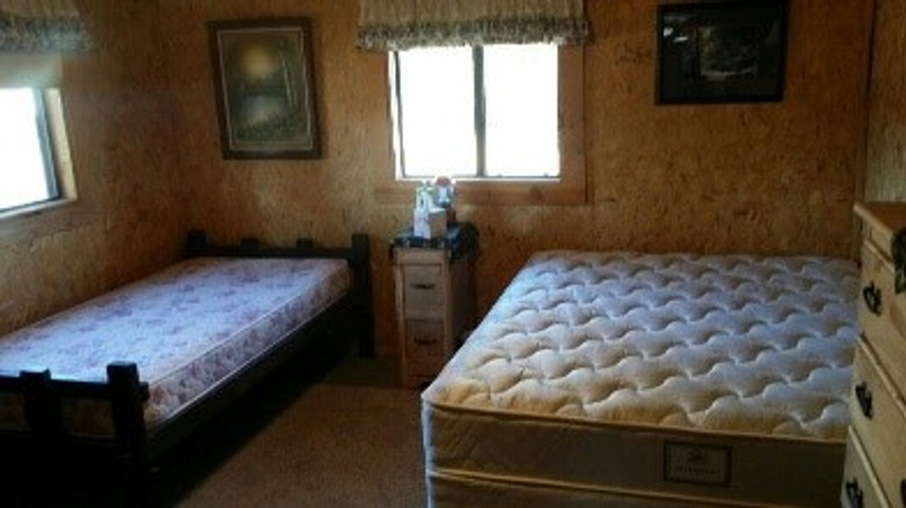 Beds in the hunting cabin.