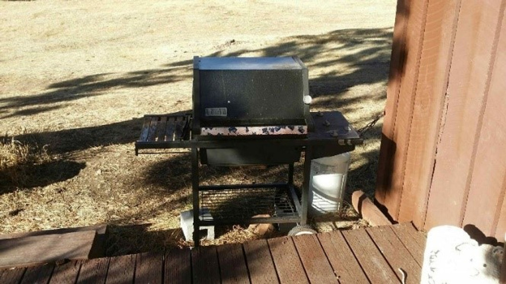Barbecue back of cabin.