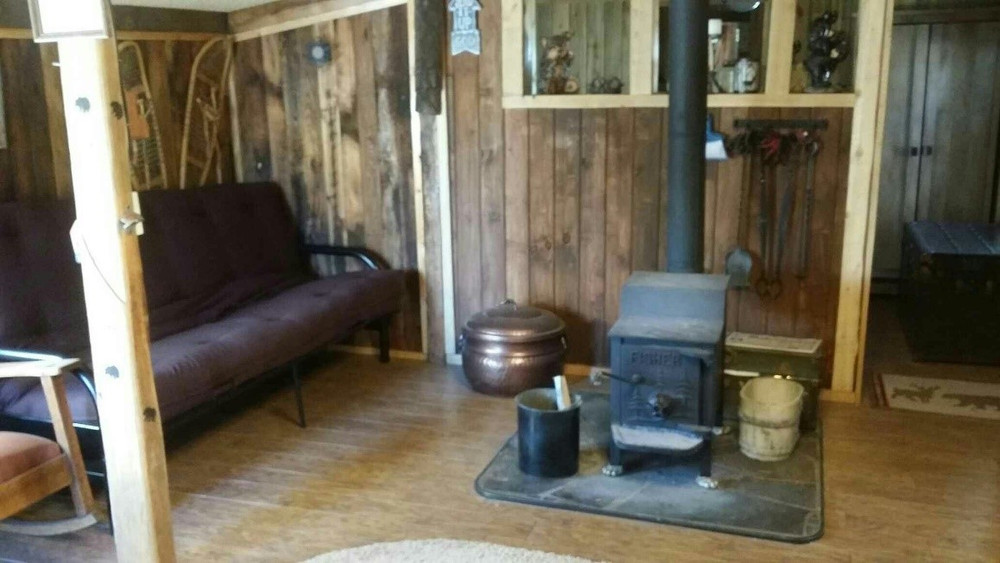 Wood stove and living space.
