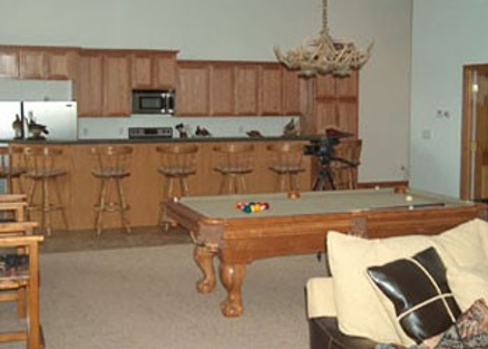 Inside turkey hunting lodge.