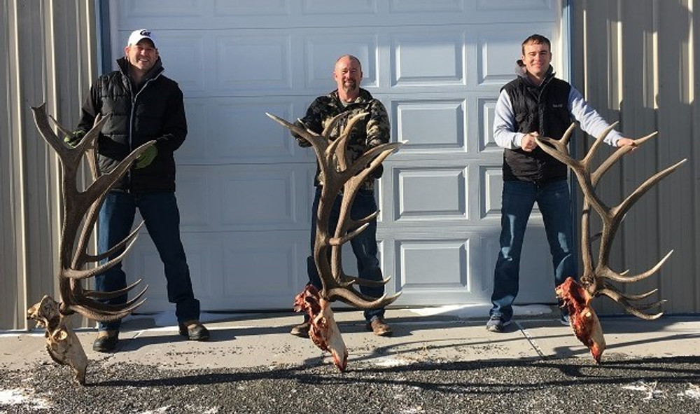 Happy group of successful elk hunters.